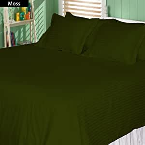 Stripe Pattern 6 Piece Sheet Set 100% Egyptian Cotton 450 TC 17 Inch Deep Pocket ( Twin , Moss )