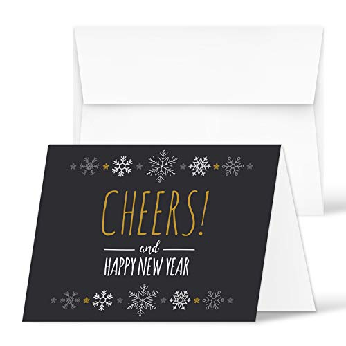 2020 Happy New Year - Blank Holiday Greetings Fold Over Cards & Envelopes - for Christmas and New Year's Gifts and Presents | 25 Cards and 25 Envelopes per Pack | 4.25 x 5.5