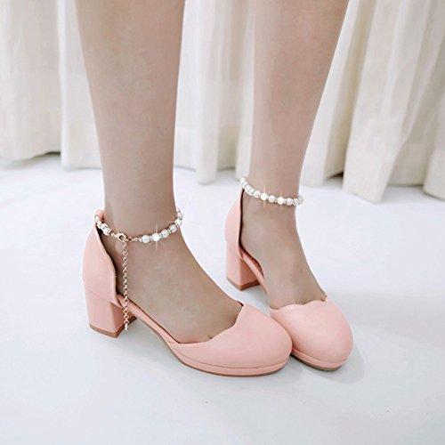 Sandali Con Cinturino Alla Caviglia Dolce Donna Con Cinturino Alla Caviglia E Sandali Con Tacco Medio Rosa