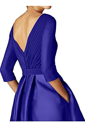 Royal Abiballkleider Braut Marie Rock Blau Knielang Linie Brautmutterkleider Promkleider Damen La A Blau Langarm Royal T8qnO