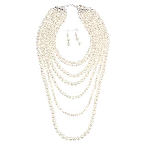 KOSMOS-LI Imitation Ivory Pearl Multi Strand Necklace for Women -