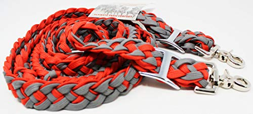 PRORIDER Horse Western Tack 10' Nylon Braided Roping Knotted Barrel Reins Red Grey 607160 ()