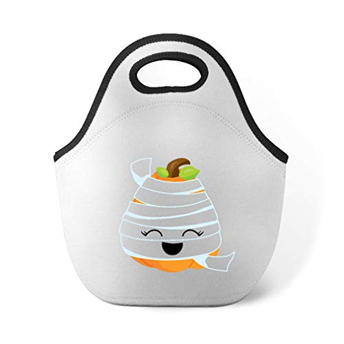 Halloween Pumpkin Mummy Neoprene Lunch Bag Insulated Food Handbag -