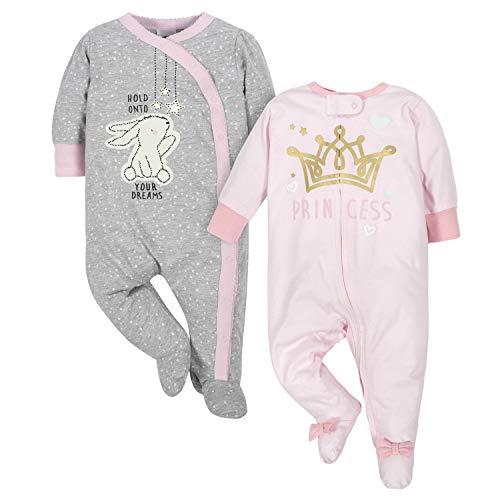 Gerber Baby Girls 2-Pack Sleep 'N Play, Bunny/Princess, 3-6 Months