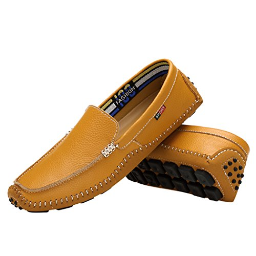 Sun Lorence Mens Fashionable Leisure Genuine Leather Slip On Loafers Shoes Brown M02tRh