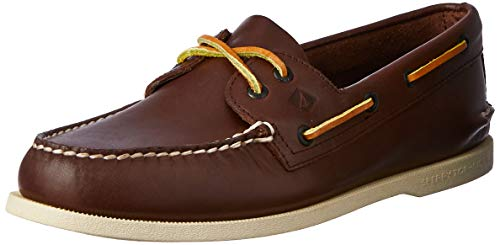 (Sperry Mens A/O 2-Eye Burnished Boat Shoe Dark Brown/Tan Size 9.5 M)