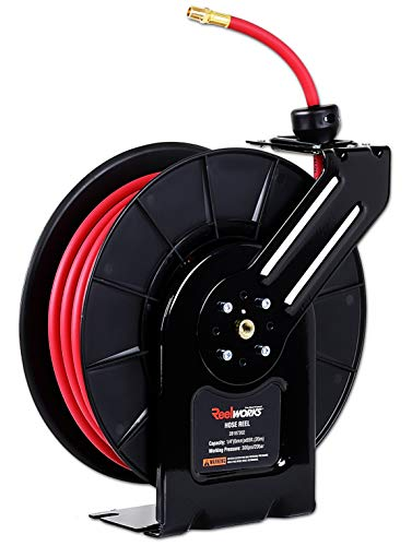 "REELWORKS Air-Hose-Reel Retractable 3/8"" Inch x 50' Feet Long Premium Commercial Flex Hybrid Polymer Hose Max 300 PSI Compressor Polypropylene Drum Construction Heavy Duty Industrial Spring from ReelWorks"