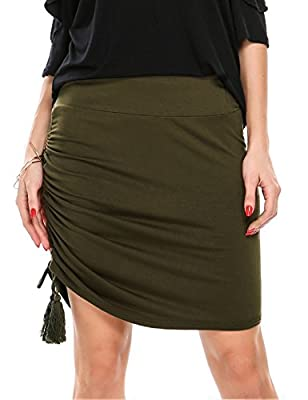 Zeagoo Women Elegant High Waist Ruched Mini Pencil Skirt with Side Shirring