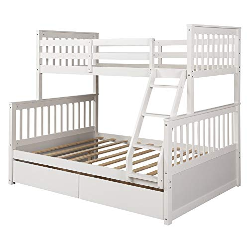Harper&Bright Designs Twin-Over-Full Bunk Bed with Ladders and Two Storage Drawers (White)