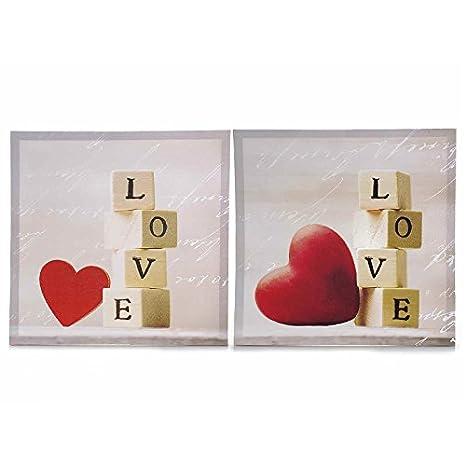 Set di due quadri romantici stampati su tela con cuori e dadi con ...