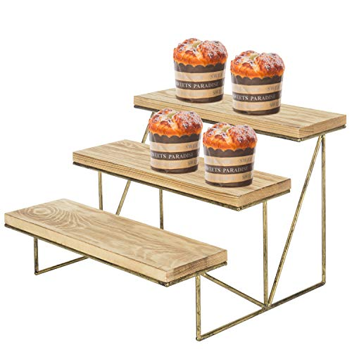 MyGift 3-Tier Wood & Brass Cupcake Dessert Display Riser (Wooden Display Stand)