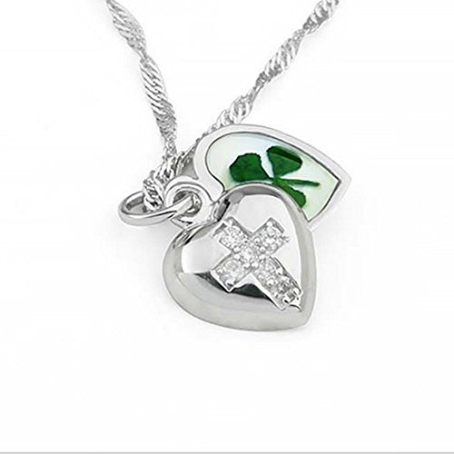 Stainless Steel Real Four Leaf Clover Open Heart Locket Cross Pendant Necklace, 16-18 inches