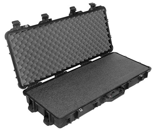 Pelican 1700 Case, Black, with Case Club's Closed Cell Military Grade Polyethylene Foam & Convolute Foam in the Lid