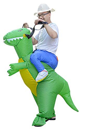 Obosoyo Inflatable Dinosaur Costumes Halloween Cosplay Costumes Gaint Suit for Audlts and Kids Adult Green Dinosaur