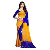 Amyaa Fashion Women's Chiffon Saree (Yellow & Blue_ Free Size)
