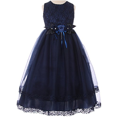Big Girls Sleeveless Lace Bodice Tiered-Laced Hem Tulle Layers Skirt Flower Pin Girl Dress Navy Blue - Size 12 (Laced Bodice)