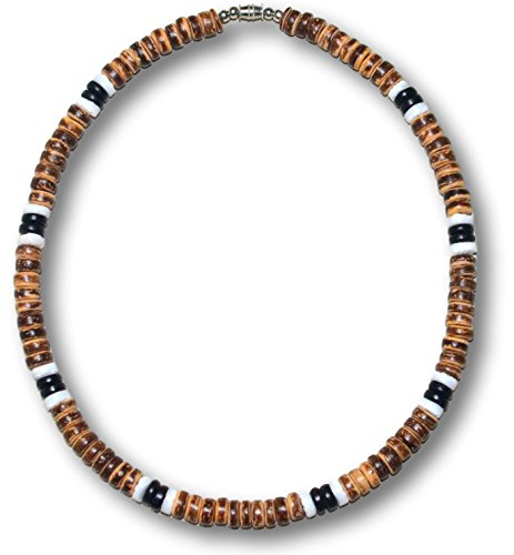 Native Treasure - 15 inch Men's Tiger Brown Coco 2 Black Coco 2 White Clam Heishe Puka Shell Surfer Necklace - 8mm (5/16