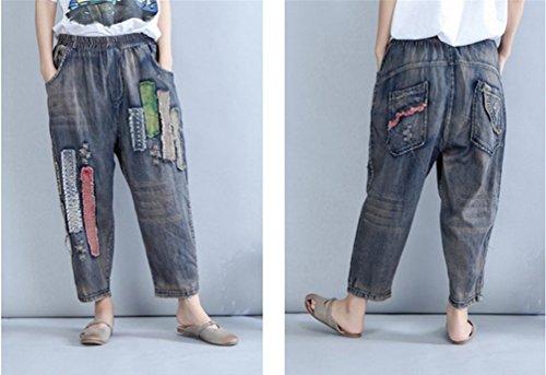 Blu Larghi Pantaloni Grande Donna Harem Elastica Vita Wanyang Denim Casuale Scuro Jeans Sciolto Dimensione qF7EwXa