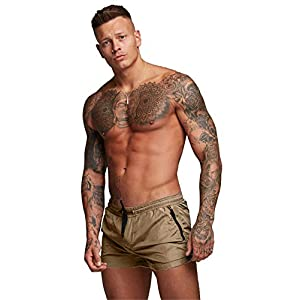 Malavita Mens Swimwear Sports Shorts Swim Trunks with Zipper Pockets