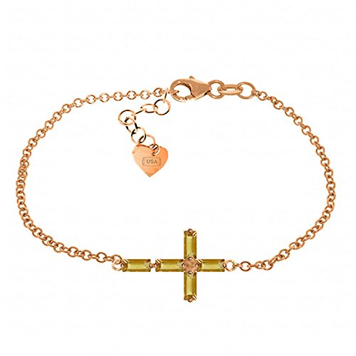 ALARRI 1.15 Carat 14K Solid Rose Gold Cross Bracelet Natural Citrine Size 9 Inch Length by ALARRI