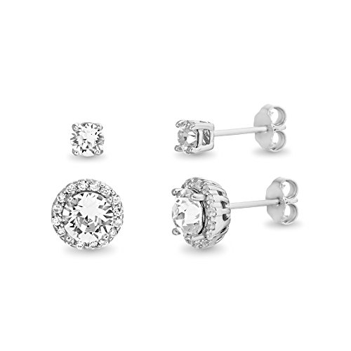 (Devin Rose 3-1/2 Cttw 2 Pair 4mm & 7mm Stud and Halo Earring Set for Women Made With Swarovski Crystal in 925 Sterling Silver)
