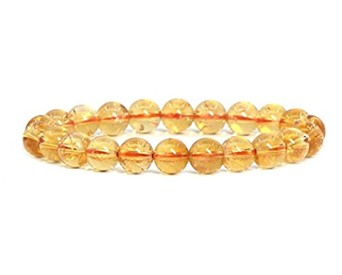 Natural Citrine Bracelet 7.5 inch Stretchy Gemstone Bracelet Chakra Gems Stones Healing Crystal Great Gifts (Unisex) GB8B-27