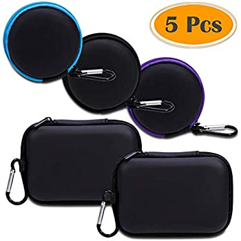 Lens Filter Hootek 5Pack Rectangle Portable Protection Shockproof EVA Carrying Case for MP3 Players Earphones Coins Memory Cards USB Cable External Hard Drive Case Blackand Keys U Disk
