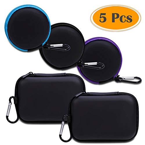 Anezus 5 Pack Earbuds Earphone Headset Headphone Carrying Cases with Zipper and Carabiner Little Travel Cases