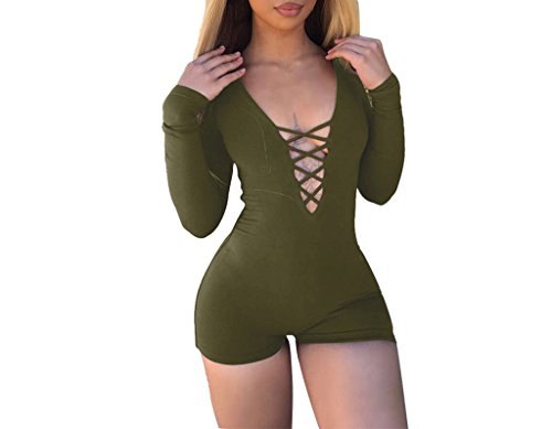 - 41FV4JtMa0L - Womens Solid Deep V Neck Bandage Hollow Out Sexy Long Sleeve Bodysuits Catsuit