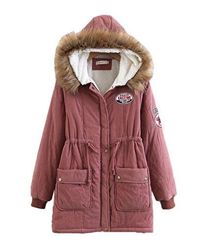 Ladies Women Bigood Jacket Hooded Parka Puffer Coat Winter b Warm Casual Pink 5AnZn