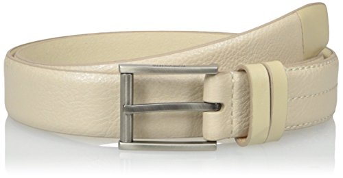 Kenneth Cole REACTION Men's 1 1/4 in. Pebble Leather Belt With Roller Buckle, Bone, 38