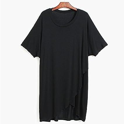 Xmy Cross-Giro Irregular Color sólido Bat de Manga Corta T-Shirt ...