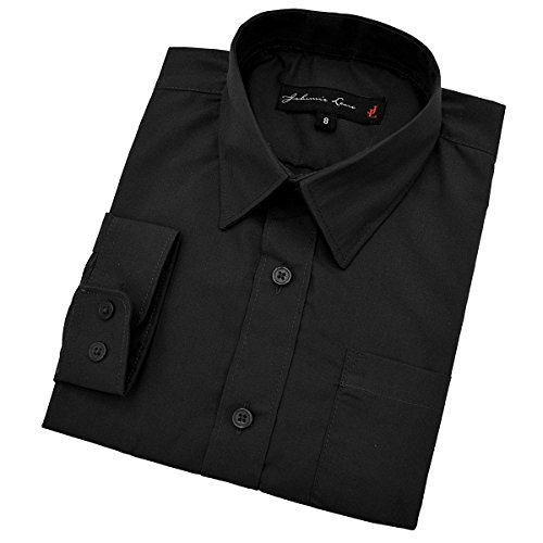 Baby Boy's Long Sleeves Solid Dress Shirt #JL32 (24 Months, Black) (Kids Black Dresses)