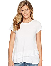 Womens Slub Jersey Asymmetrical Flounce Hem T-Shirt