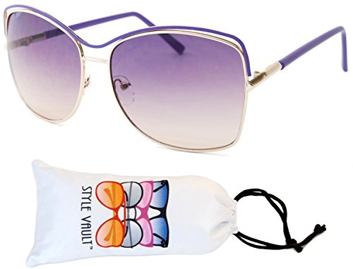 Lavender Womens Sunglasses - Wm551-vp Style Vault Metal Butterfly Unique Sunglasses (F3109R Gold/lavender-purple smoked, mirrored)