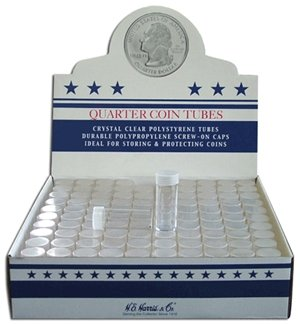 100 Round Quarter Coin Tubes Round Quarter New Crystal Clear Polystyrene - Box 100