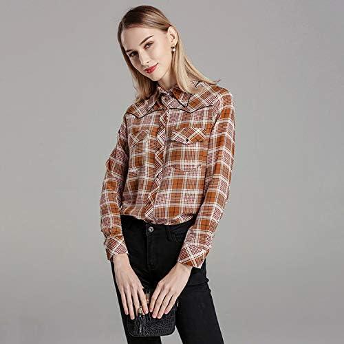 AIBAB Maglia di Seta Blusa in Seta Sciolta A Maniche Lunghe Camicia Vintage Stampata Vestito da Donna Primavera
