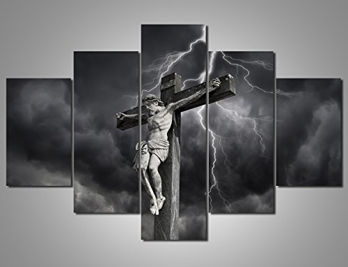 Framed Wall Art Living Room Cross Wooden Wall Art Jesus Christan Crucifixion Prints on Canvas Holy Lord Painting,5 Panel Artwork Giclee Picture Home Decor Posters and Prints Ready to Hang(60''Wx40''H) by Warm Artwork