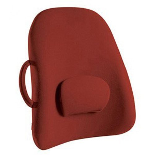 ObusForme Burgundy Lowback Backrest Support, Removable Adjustable Lumbar Support, Contoured Cushioning Provides Supportive Comfort, Handle For Portability, Hypoallergenic Cover Can Be Removed To Wash