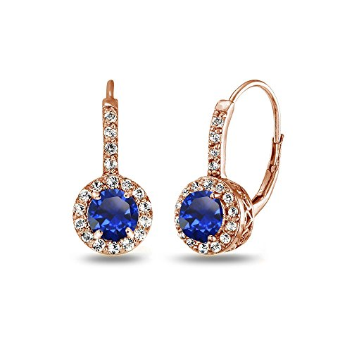 Ring Sapphire Rose (Rose Gold Flashed Sterling Silver Created Blue Sapphire & White Topaz Round Dainty Halo Leverback Earrings)