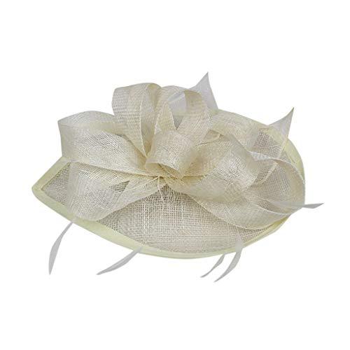 iNoDoZ Women's Flower Derby Hat for Cocktail Ball Wedding Church Feather Fascinators Elegant Headwear Beige]()