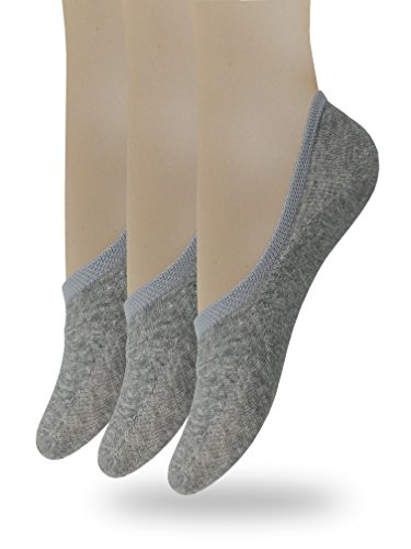 (Eedor Women's 3 Pack Thin No Show Socks Non Slip Flat Boat Line Gray )