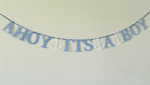 Bows Bassinet - Dorigan home series Ahoy It'S A Boy Light Blue Nautical Baby Shower Banner Paper Garland Photo Prop