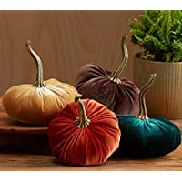 Small Velvet Pumpkins Set of 4 Includes Rust Gold Emerald and Brown, Handmade Home Decor, Holiday Mantle Decor, Fall Halloween Thanksgiving Centerpiece, Rustic Fall Wedding Centerpiece Decor