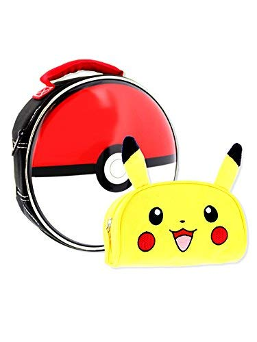 Pokemon Kids 2 Piece Lunch Box and Accessory Bag Set (Black/Red/Multi, One Size)