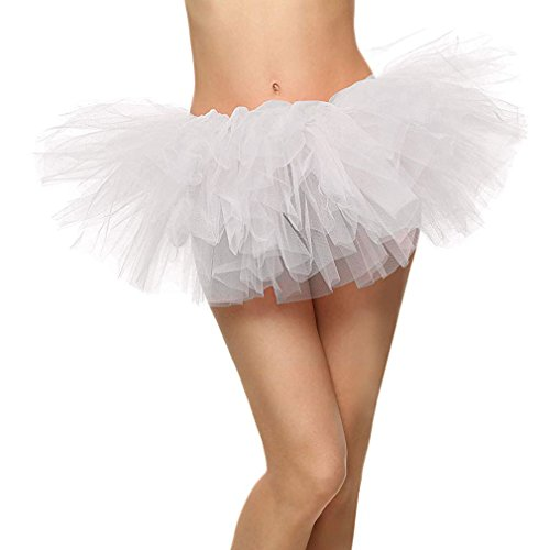 White Adult Tutus (Women's Adult 5 Layered Tulle Mini Tutu Skirt,)