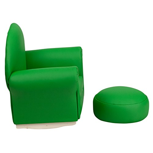 21.5'' Kids Green Vinyl Rocker Chair & Footrest (1 Set)