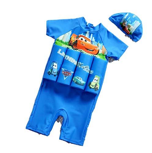Happy angel Boys Girls Cartoon Superhero Buoyancy Swimsuit Swim Vest Detachable Float Swimwear(Car,M) ()