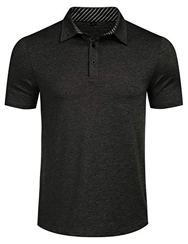 Mens Classic Casual Short Sleeve Striped Collared Slim Fit Elastic Cotton Polo Shirt Black L