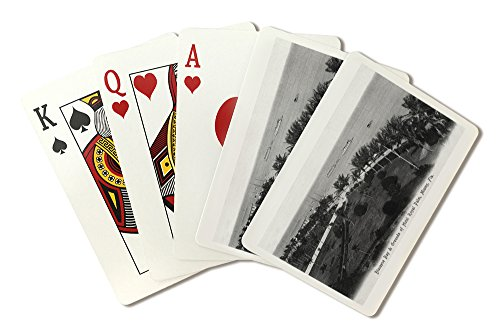 Miami, Florida - Royal Palm Hotel Grounds and Biscayne Bay View (Playing Card Deck - 52 Card Poker Size with Jokers)
